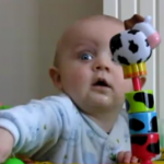 Adorable Baby Scared of Mommy Blowing Her Nose