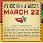 Today, Kid's Eat Free at Chili's!