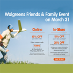 Walgreens Coupon 15% Off Today